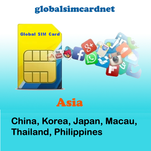 GSC-AS2: China/Korea/Asia2 Travelling Internet LTE Global SIM Card 2-5GB/7-30 Days